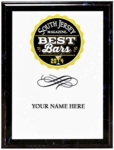 "Custom 9"" x 12"" full color express image on black marbleized wood plaque. Your ""Best Of"" category logo and your business name are expertly laid out on this plaque. Select your business name from the drop down menu below. Allow 2 weeks for delivery. Congratulations on being named one of the Best of South Jersey!"